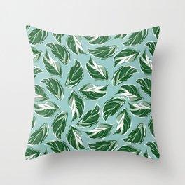 Calathea White Fusion Tropical Houseplant Art Throw Pillow