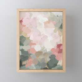 Forest Green Fuchsia Blush Pink Abstract Flower Spring Painting Art Framed Mini Art Print