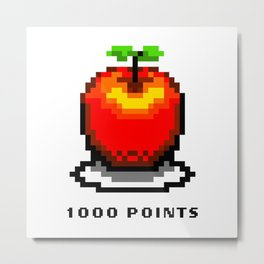 Retro Video Game Pixel Art Apple 1000 Points Metal Print