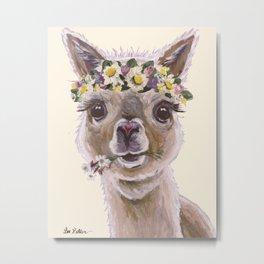 Holly The Alpaca, Alpaca Art Metal Print