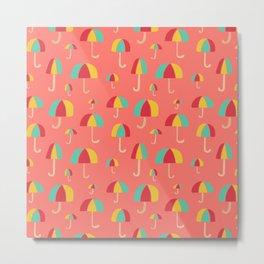 April Showers // Coral Metal Print