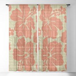 Summer Words Hawaiian Hibiscus Graphic Design Sheer Curtain