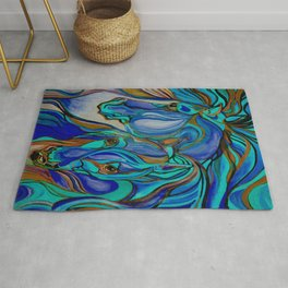 Wild Horses In Brown and Teal Rug