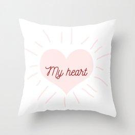 shining heart in pink Throw Pillow