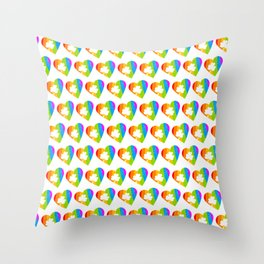 St. Patricks Day: Rainbow Hearts With Shamrocks Throw Pillow