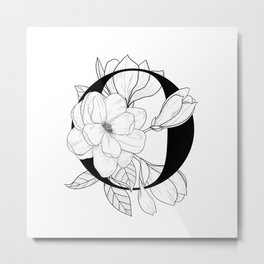 Monogram Letter O with Magnolia Line Art Metal Print