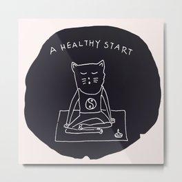 Relax Cat, A Healthy Start, Meditation Metal Print