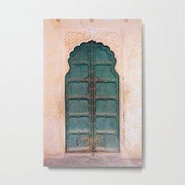 Antique door in India - Teal door, peach wall Metal Print