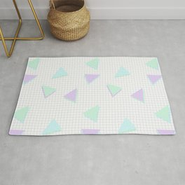Cool-Color Pastel Triangles on Grid Rug