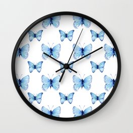 Blue Butterflies Pattern Butterfly Watercolor Wall Clock