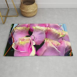 Bright Pink Rose Buds Exotic Floral Bouquet Rug