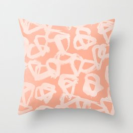 Sweet Life Triangle Dots Peach Coral Pink Throw Pillow