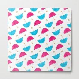 Rainy Day Neck Gaiter Pink and Blue Umbrellas Neck Gator Metal Print