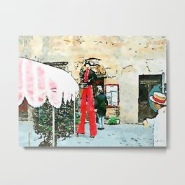Barbarano Romano: man with straw hat and acrobat with stilts and red pants Metal Print