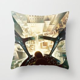 Nose Dive Into the City by T. Crali Throw Pillow