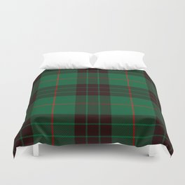 Dark Green Tartan with Black and Red Stripes Duvet Cover