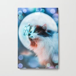 The cat and the butterfly under the moon by GEN Z Metal Print