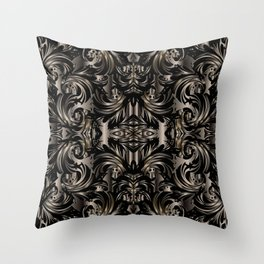 Black Gold Baroque Floral Pattern Throw Pillow