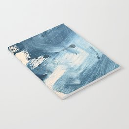 Against the Current: A bold, minimal abstract acrylic piece in blue, white and gold Notebook
