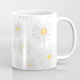 white daisy pattern watercolor Kaffeebecher