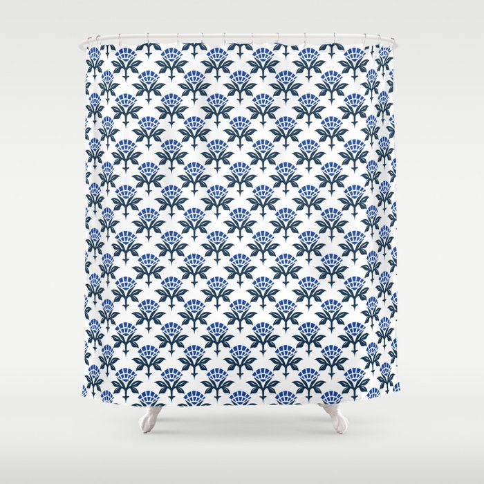 Ajrak Woodblock Floral Print in Blue Shower Curtain