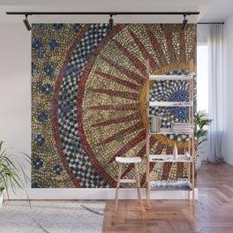 Ancient Roman Tesserae Sun Gems, Glass, & Stone Mosaic Tile Relief Wall Mural