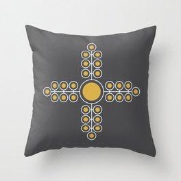 Minimalist Flowers Cross Pattern (Spicy Mustard, Charcoal Black) Throw Pillow