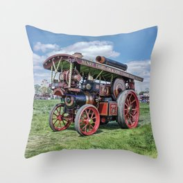 "Showmans Engine ""Lord Nelson"" Desatuated Throw Pillow"