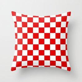 Checker Texture (Red & White) Throw Pillow