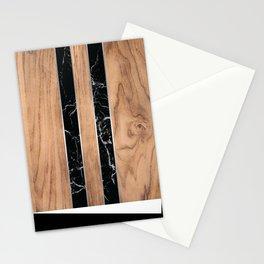 Striped Wood Grain Design - Black Granite #175 Stationery Cards
