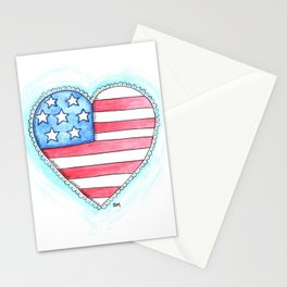 Patriotic Heart Stationery Cards