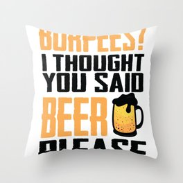 Burpees Funny Sports design and Beer Fans Gift Throw Pillow