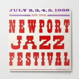 1959 Newport Jazz Festival Vintage Advertisement Poster Newport, Rhode Island Metal Print