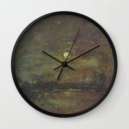 Eugène Boudin - Twilight on the bassin du Commerce in Le Havre Wall Clock