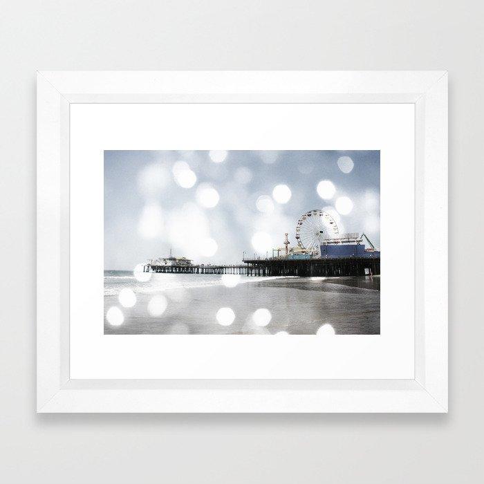Sparkling grey Santa Monica Pier Framed Art Print by Christine aka stine1