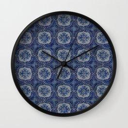 Vintage blue ceramic tiles pattern Wall Clock