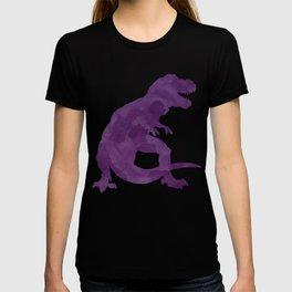 Watercolor Dinosaur Silhouette Pattern Purple Pink Green T-shirt