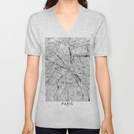 Paris White Map Unisex V-Neck