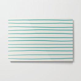 Aqua Teal Turquoise Solid Color Hand Drawn Horizontal Line Stripe Pattern on Alabaster Off White - Aquarium SW 6767 Metal Print