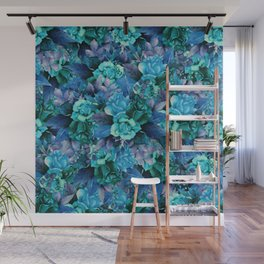 Turquoise Roses Wall Mural