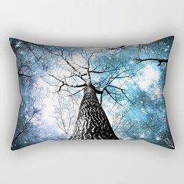 Wintry Trees Galaxy Skies Steel Teal Blue Rectangular Pillow