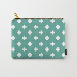 White Swiss Cross Pattern on Green Blue background Carry-All Pouch