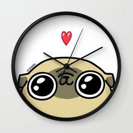 Mochi the pug loves you Wall Clock