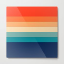7 Colorful Retro Summer Stripes Bamola Metal Print