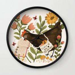 Chicken Reading a Book Wall Clock