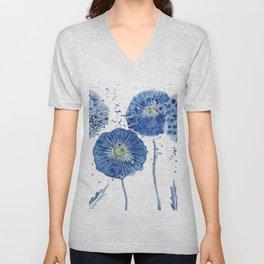four blue dandelions watercolor Unisex V-Neck