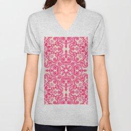 Hot Pink & Soft Cream Folk Art Pattern Unisex V-Neck