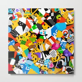 Emoji Abstract Colorful Art Retro Pattern Metal Print