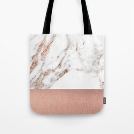 Rose gold marble and foil Tote Bag