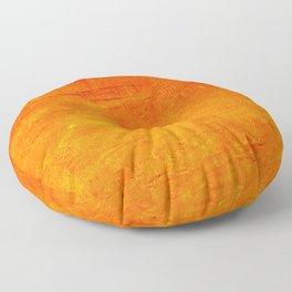 Orange Sunset Textured Acrylic Painting Floor Pillow